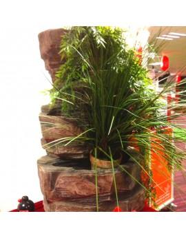 Cascade ou fontaine avec végétaux