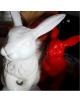 Lapins en résine blanc ou rouge