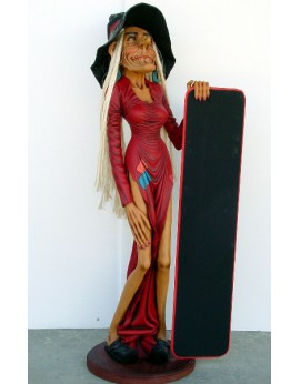 Statue sorcière avec ardoise