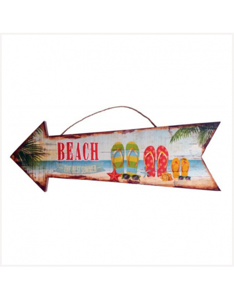 Panneau flèche en bois Beach