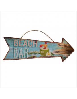 Panneau flèche en bois - Beach Bar
