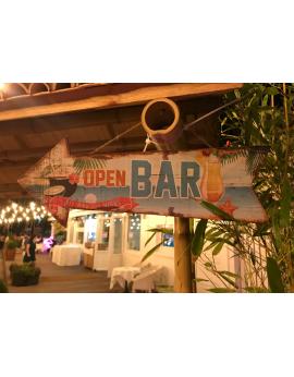 Panneau flèche en bois - Open Bar