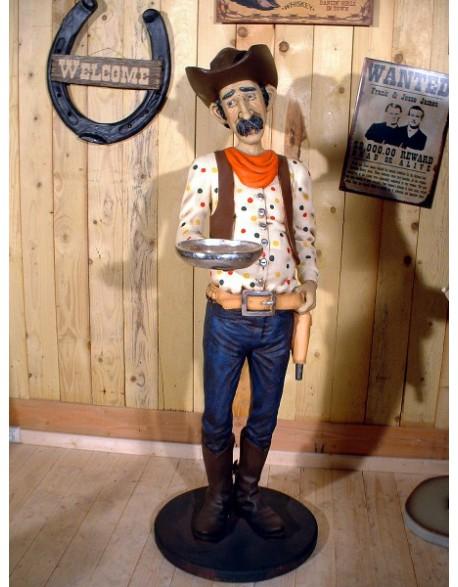 Statue Cow boy serveur à moustache