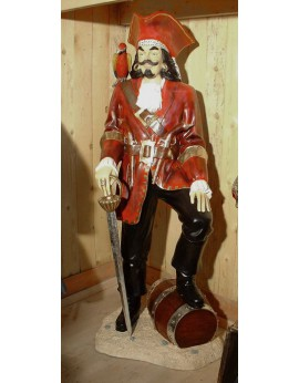 Statue pirate veste rouge et perroquet