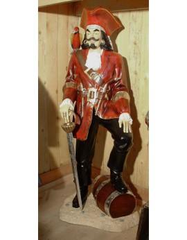 Statue pirate veste rouge et perroquet