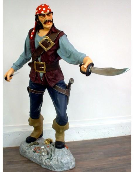 Statue pirate avec sabre et couteau