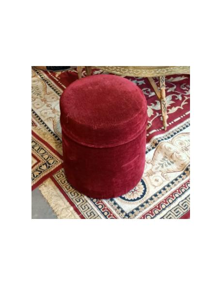 Pouf rond en velours rouge