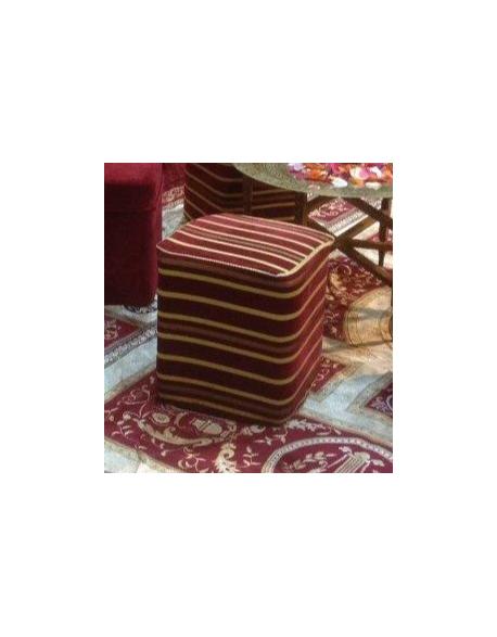 Pouf carré en velours rouge rayé