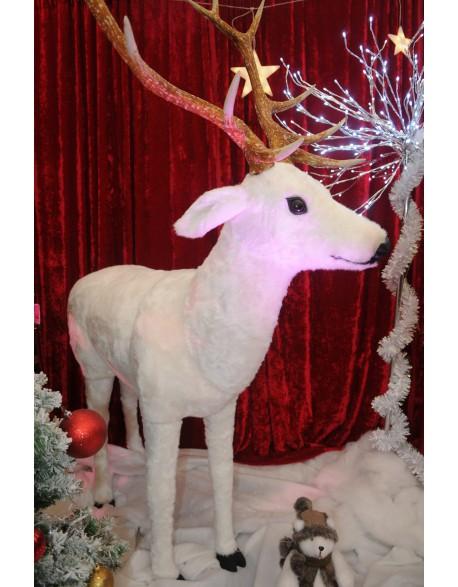 Le renne en résine blanc