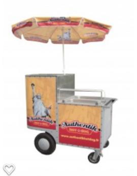 chariot hot-dog américain inox